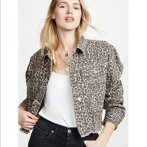 Cropped Cheetah Print Jean Jacket